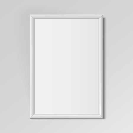 Realistic White vertical frame for paintings or photographs hanging on the wall. Vector illustration. Çizim