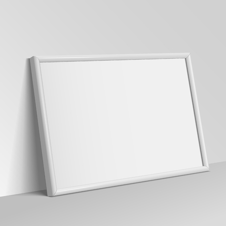 clean floor: Realistic White horizontal frame for paintings or photographs.  Vector illustration.