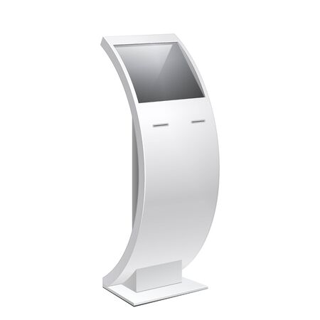 terminals: Information Kiosk, POS POI Terminal Stand on the white background. Mock Up Template. Vector illustration.