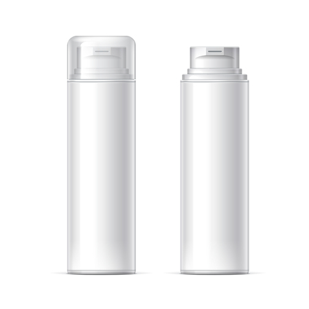 Mock up Shaving gel foam. White container With lid and without Realistic vector illustration Illustration