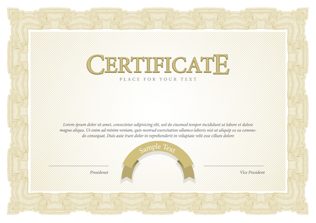 sertificate: Certificate. Award background. Gift voucher. Template diplomas currency Vector illustration