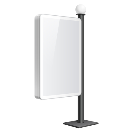 Realistic vector light box. Advertising Stand template on white background Illustration