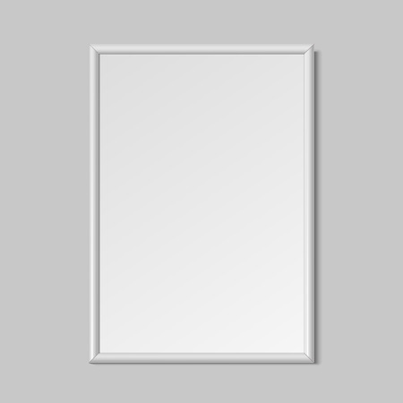 Realistic vertical frame for paintings or photographs hanging on the wall. Vector illustration. Vettoriali