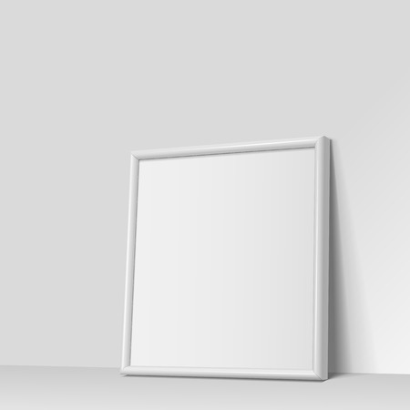 frame wall: Realistic White square shape frame for paintings or photographs leaning against the wall.  Vector illustration.