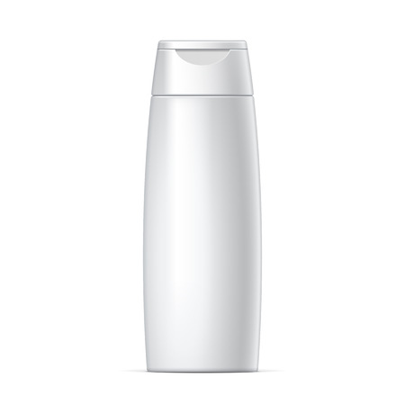 champu: Plástico blanco Botella Champú Con Flip-Top Lid. MockUp plantilla para su diseño. Ilustración del vector.