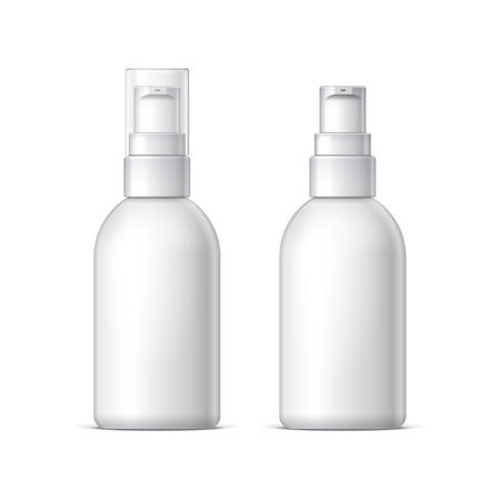 grey hair: Mock up White plastic bottle can sprayer container With lid and without Template For Your Design. Realistic vector illustration.