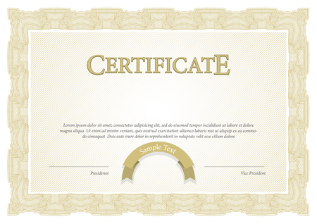 blank template: Certificate. Award background. Gift voucher. Template diplomas currency Vector illustration