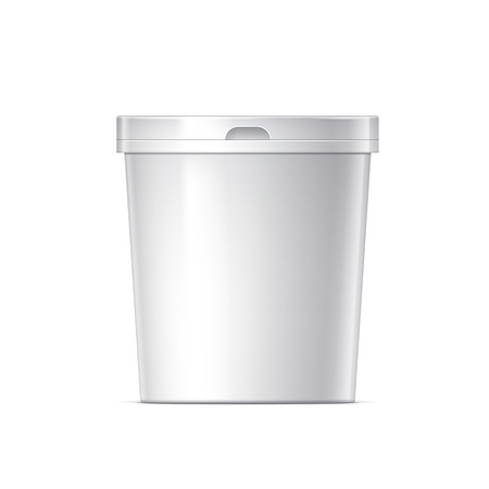 foodstuff: Small White plastic bucket with lid. Product Packaging For food, foodstuff or paints, adhesives, sealants, primers, putty. Vector illustration Illustration