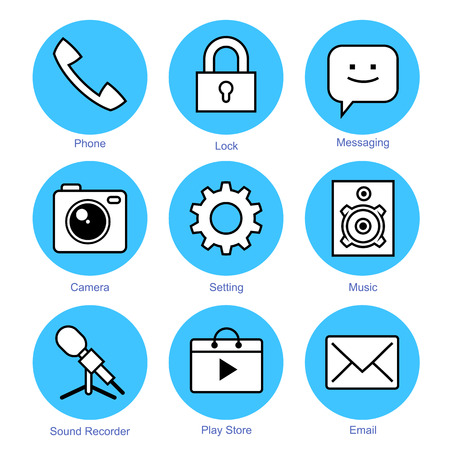 messaging: line icons set. Communication Icons. Smartphone application with White Background Illustration