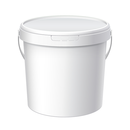 White plastic bucket with White lid. Product Packaging For food, foodstuff or paints, adhesives, sealants, primers, putty. MockUp Template For Your Design. Vector illustration.