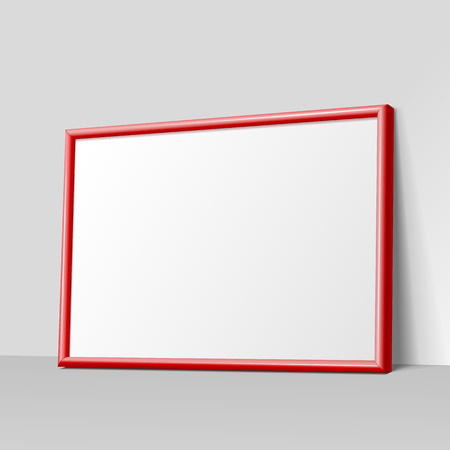 wall paintings: Realistic red horizontal frame for paintings or photographs leaning against the wall.  MockUp Template For Your Design. Vector illustration.