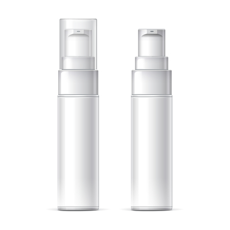 Mock up White plastic bottle can sprayer container With lid and without Template For Your Design. Realistic vector illustration.