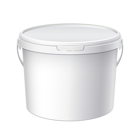 foodstuff: White plastic big bucket with White lid. Product Packaging For food, foodstuff or paints, adhesives, sealants, primers, putty. MockUp Template For Your Design. Vector illustration. Illustration