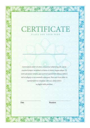 diploma: Certificado. Fondo Premio. Cheque regalo. Diplomas Plantilla moneda ilustraci�n vectorial