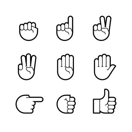 손 제스처. 라인 아이콘을 설정합니다. 플랫 스타일 벡터 아이콘, 로고, 디자인을위한 상징 일러스트