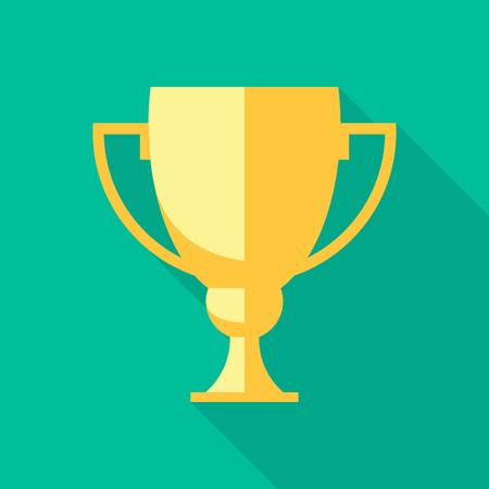 copa: Vector ganador de la copa. Trofeo icono plana Vectores