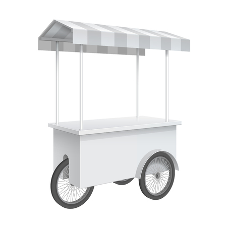 retail display: Promotion counter on wheels and a triangular roof covered with striped awning, Retail Trade Stand Isolated on the white background. MockUp Template For Your Design. Vector illustration.