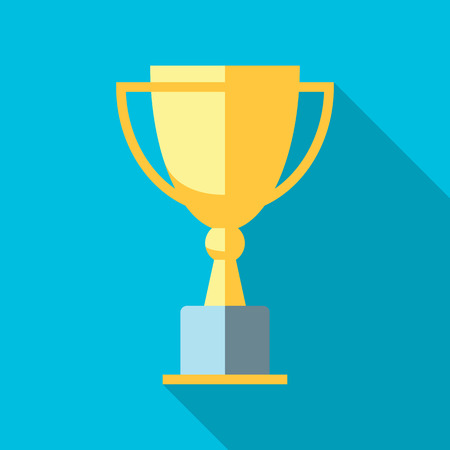 sports winner: Vector winner cup. Trophy flat icon Illustration