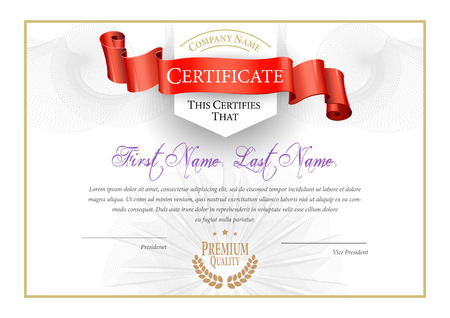 certificado: Certificado. Fondo Premio. Cheque regalo. Diplomas Plantilla moneda ilustración vectorial