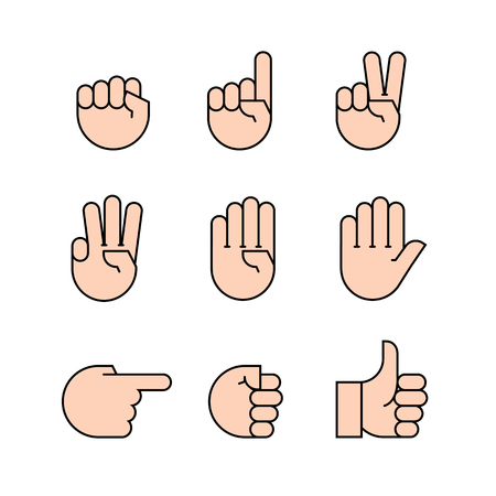 gestures: hand gestures. Flat style vector icons, emblem, symbol For Your Design