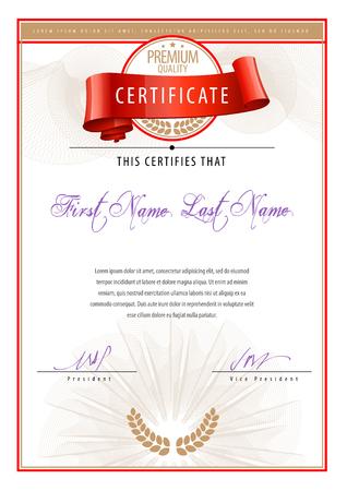 diploma: Certificado. Fondo Premio. Cheque regalo. Diplomas Plantilla moneda ilustración vectorial