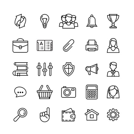 Communication strategy: line phone icons set isolated illustration. Icons for business, management, finance, strategy, planning, analytics, banking, communication, social network, affiliate marketing.