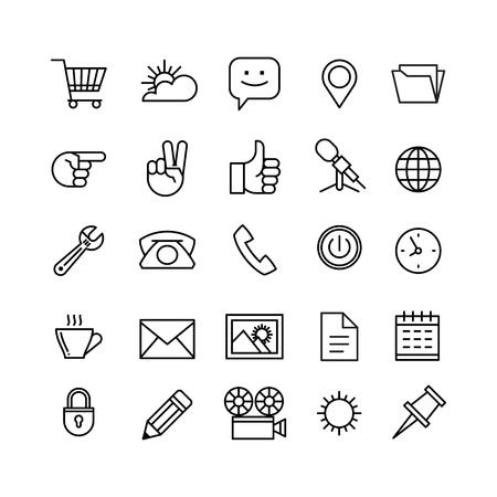 gestion empresarial: Iconos de tel�fono de l�nea conjunto aislado ilustraci�n. Los iconos de negocios, administraci�n, finanzas, estrategia, planificaci�n, an�lisis, la banca, la comunicaci�n, la red social, el marketing de afiliaci�n. Vectores