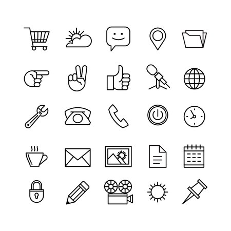 business space: line phone icons set isolated illustration. Icons for business, management, finance, strategy, planning, analytics, banking, communication, social network, affiliate marketing.