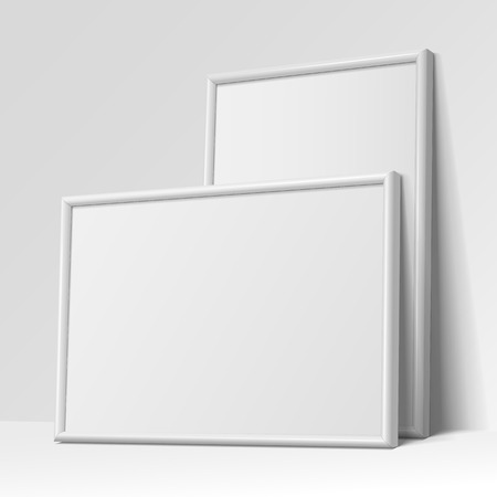 framework: Realistic White horizontal and vertical frame for paintings or photographs.  Vector illustration.