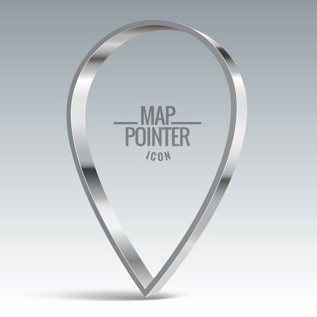 blank template: Map pointer sign. Shiny metal vector banner
