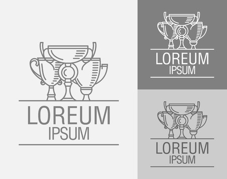 achieving: Cup winner logo. The idea of achieving victory. Three Cup winner. First second and third place. Logo competition. Vector sign template.