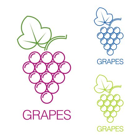 bunch: Grape sign.  wine production of wines, sommelier, viticulture, juice on white background. Vector sign template.