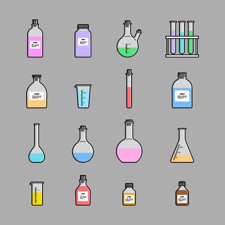 material de vidrio: iconos cristaler�a qu�mica establecen. El matraz vaso de precipitados tubo de ensayo Vectores