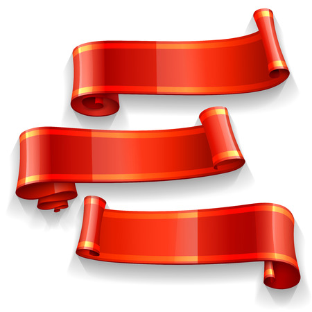 Realistic Red Glossy vector ribbons with a yellow stripe for your design project