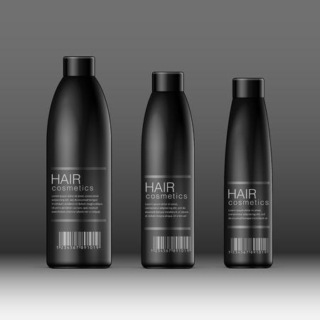 productos de belleza: Realista botella de Black Cosmetics puede, desodorante, ambientador de aire. ilustración vectorial Vectores