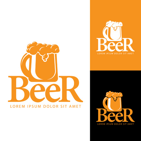 beers: A mug of beer with foam. Logo pub or brewery beers. Vector sign template. Illustration