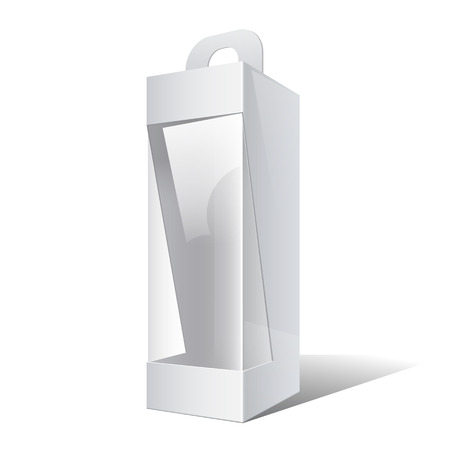 plastic window: Light Realistic Package Cardboard Box with a handle and a transparent plastic window.