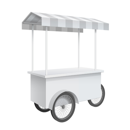 bar counter: Promotion counter on wheels and a triangular roof covered with striped awning, Retail Trade Stand Isolated on the white background. MockUp Template For Your Design. Vector illustration.