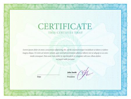 Certificaat. Award achtergrond. Cadeaubon. Template diploma munt Vector illustratie Stock Illustratie