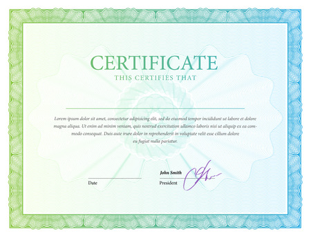 money border: Certificate. Award background. Gift voucher. Template diplomas currency Vector illustration