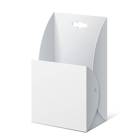 White Cardboard holder for brochures and flyers. Vector Illustration