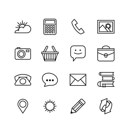 application icons: line phone icons set isolated illustration.