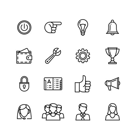 global finance: line phone icons set isolated illustration.