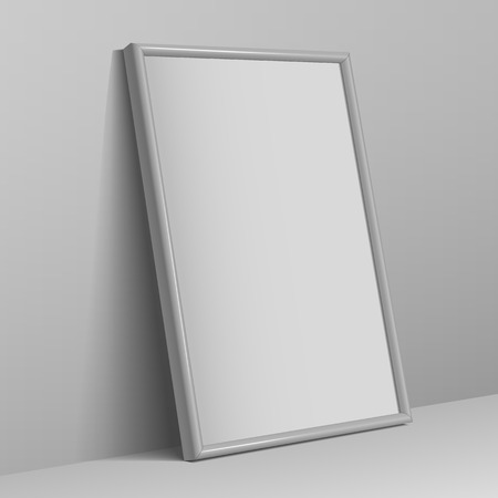 photographs: Realistic White horizontal frame for paintings or photographs. Illustration