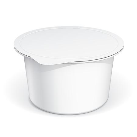 yogurt: Envase de plástico blanco en blanco para la crema agria, yogur, mermeladas y otros productos. MockUp plantilla para su diseño. Ilustración del vector. Vectores