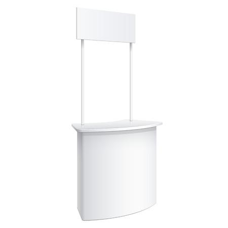 Promotion contre, le commerce de détail stand isolé sur le fond blanc. Modèle Mockup pour votre conception. Vector illustration.