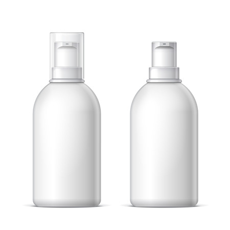 personal grooming: Mock up White plastic bottle can sprayer container With lid and without Template For Your Design. Illustration