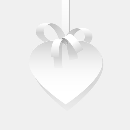 heart background: A white heart cut out of paper. white Ribbon. Greeting card. Element for design