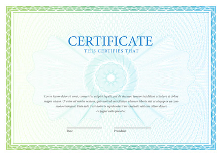 sertificate: Certificate pattern that is used in currency and diplomas Illustration