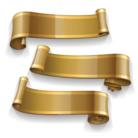 curled edges: Realistic Gold Glossy ribbons with a yellow stripe for your design project Illustration